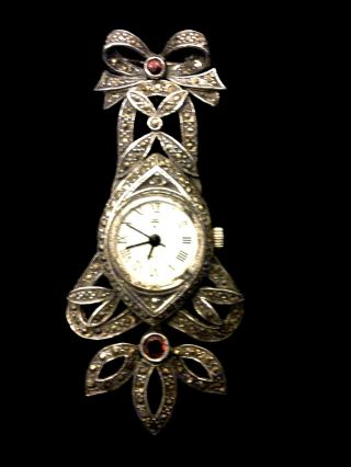 Suberb Unusual Vintage Silver Marcasite Brooch Watch,  Quartz Movement photo