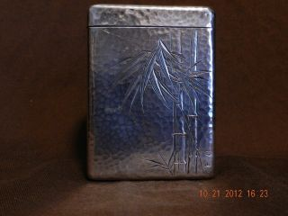 Antique 950 Sterling Silver Cigarette Case Bamboo Engraving Japan photo