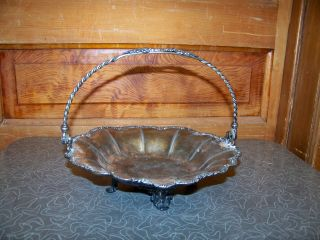 Antique Victorian Pairpoint Silver Plate Brides Basket photo