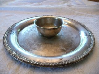 Wm Rogers Silverplateserving Tray With Attatched Bowl photo