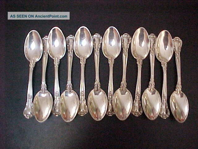 Sterling Silver Flatware Spoon Set Approx 312 Grams Chantilly Lion Ancor G Cups & Goblets photo