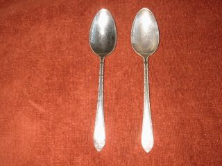 Two Vintage Wm.  Rogers & Son Is Exquisite Silverplate Spoon Tea Spoons photo