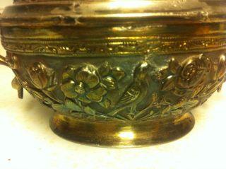 Rare Persian Antique Sterling Silver Sugar Bowl And Tongs photo