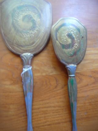 Antique Gorgeous Brush And Mirror Set,  1940 ' S To 1950 ' S,  =) photo
