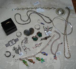 Vintage Lot 925 Beau Sterling Pin Silver Ring Bracelet Charm Chain 135gr Scrap? photo
