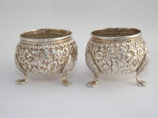 Excuisite Pair Of Antique Eastern Solid Silver Salt Cellers photo