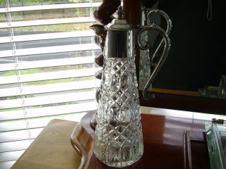 Vintage 1930 ' S Glass Claret Jug With Silver Plated Mounts Falstaff Silver Plate photo