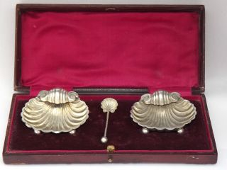 Boxed Pair Of Victorian Solid Silver Shell Salts - Birmingham 1897 photo