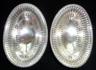 Antique Silver Pair Ellis Barker Pierced Bowls Reticulated Design Oval England photo