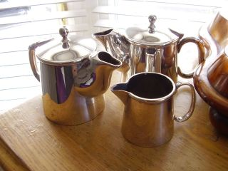 Vintage Early 1950 ' S Silver Plated Three Piece Coffee Set National Plate England photo
