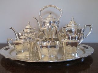Vintage 1930 Gorham Art Deco Large Silverplate 7 Piece Coffee Or Tea Set photo