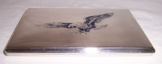 Vtg Sterling Silver Cigarette Case W/eagle Hallmarked photo