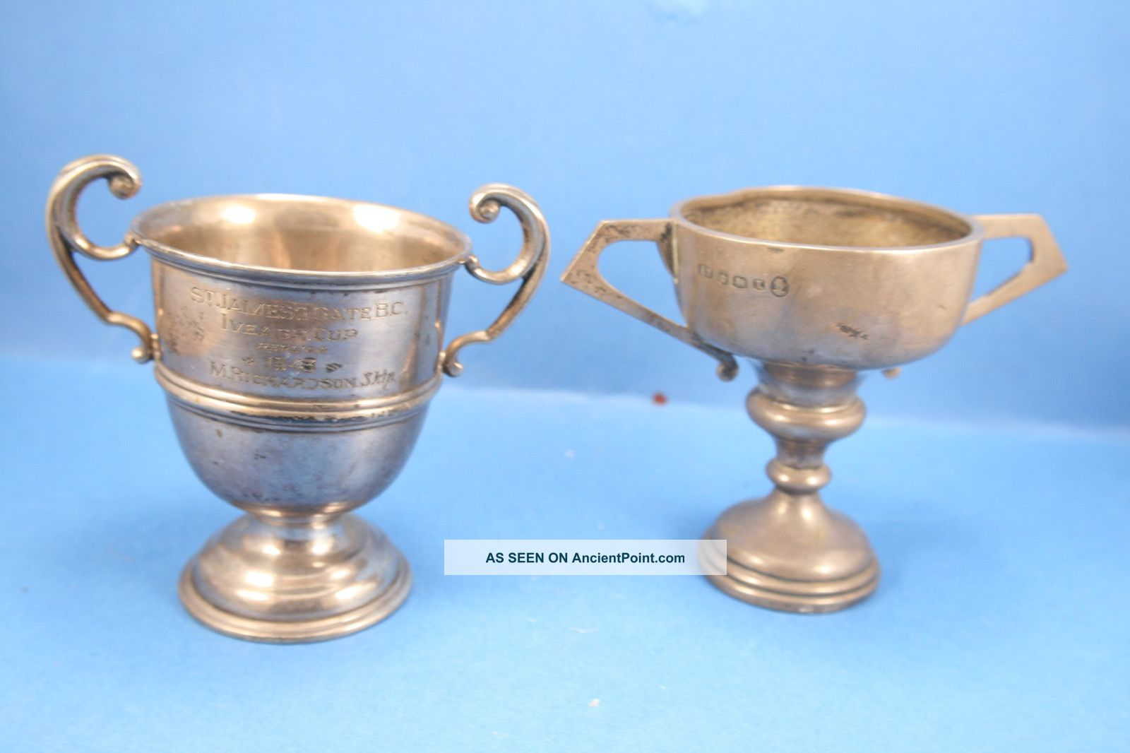 Two Fully Hallmarked Solid Silver Trophy Cups Weighing 154 Grams. Cups & Goblets photo
