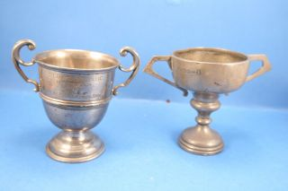 Two Fully Hallmarked Solid Silver Trophy Cups Weighing 154 Grams. photo