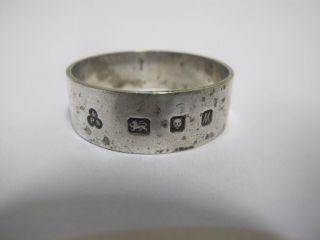 Modern Sterling Silver Napkin Ring Large Hallmark London 1986 photo