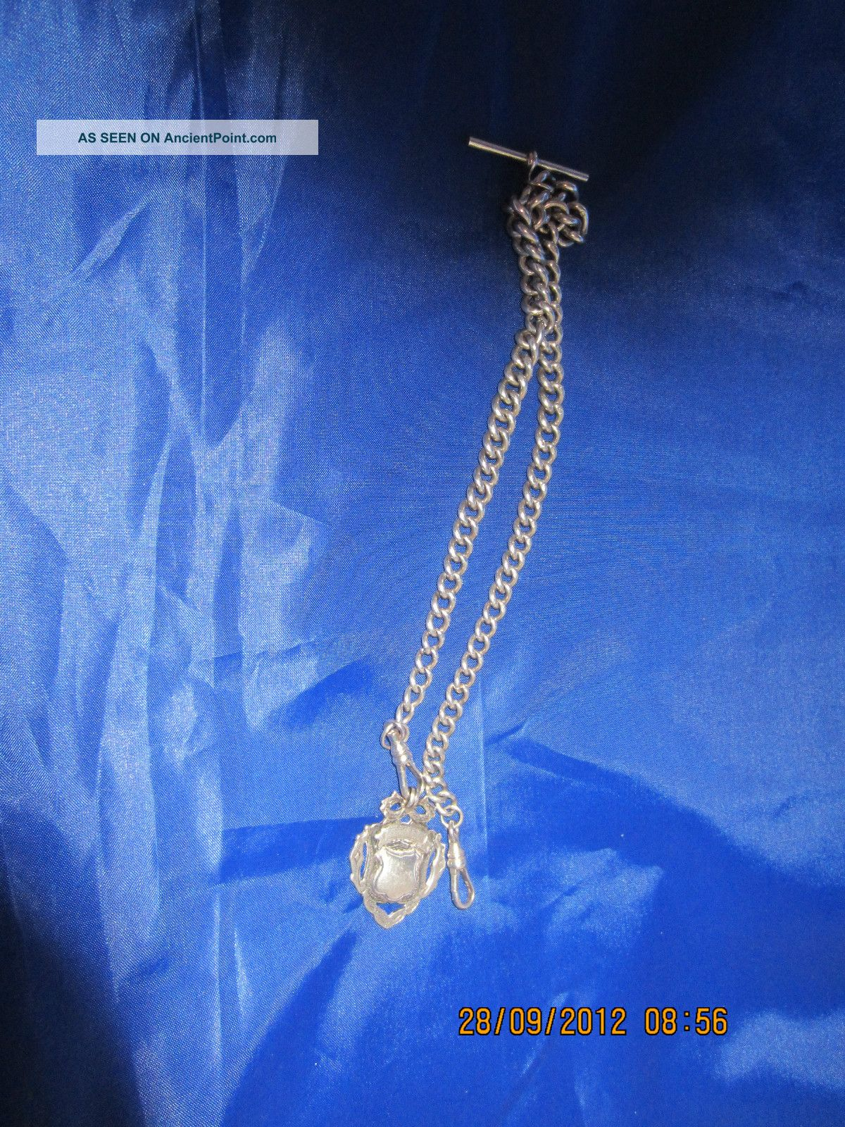 Silver Albert Chain With Fob Hallmark 1908 Pocket Watches/ Chains/ Fobs photo