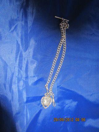Silver Albert Chain With Fob Hallmark 1908 photo