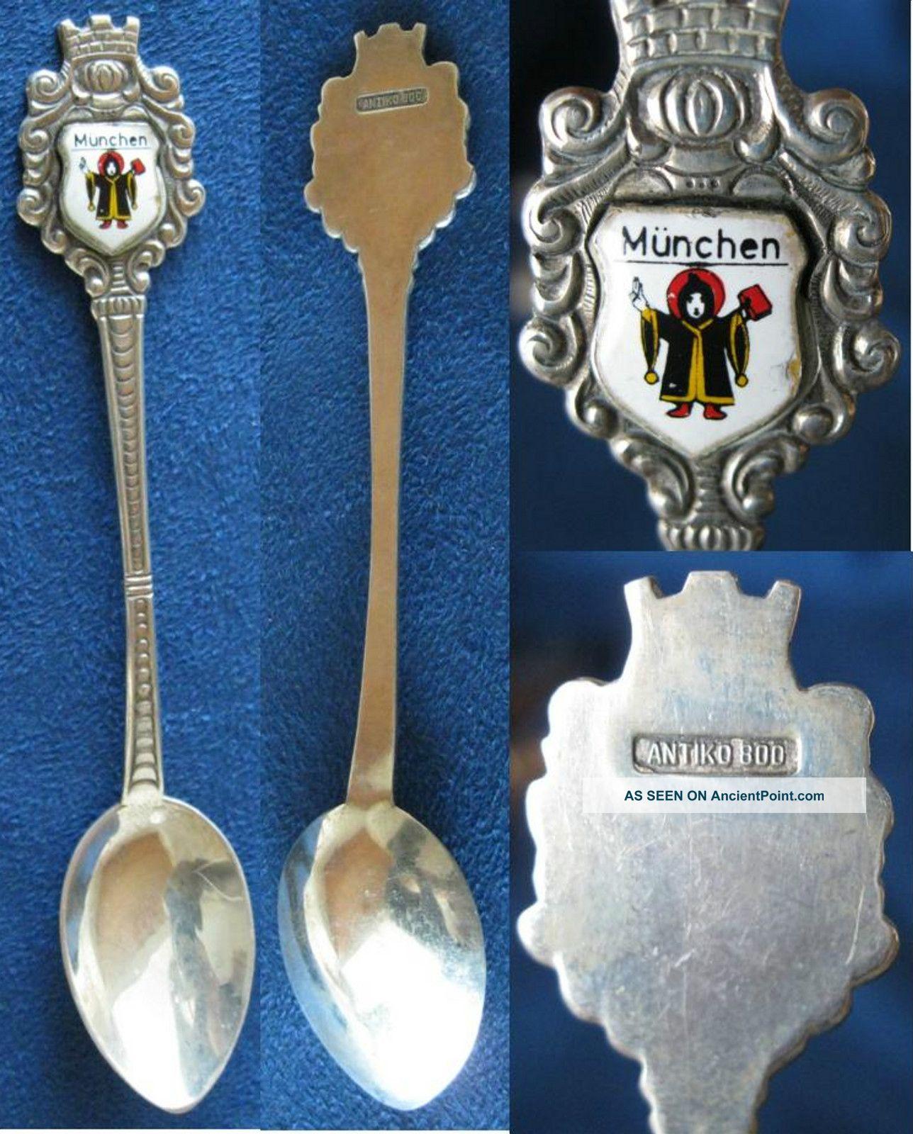 Souvenir Spoon - Antiko 800 Silver - Munchen Silver Alloys (.800-.899) photo
