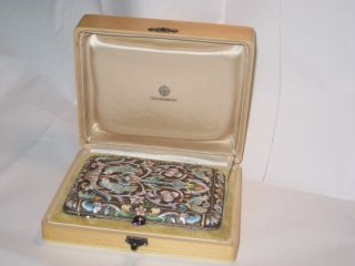 Russian Silver Gilt 88 Cloisonne Enamel Cigarette Case - Pavel Ovchinnikov photo