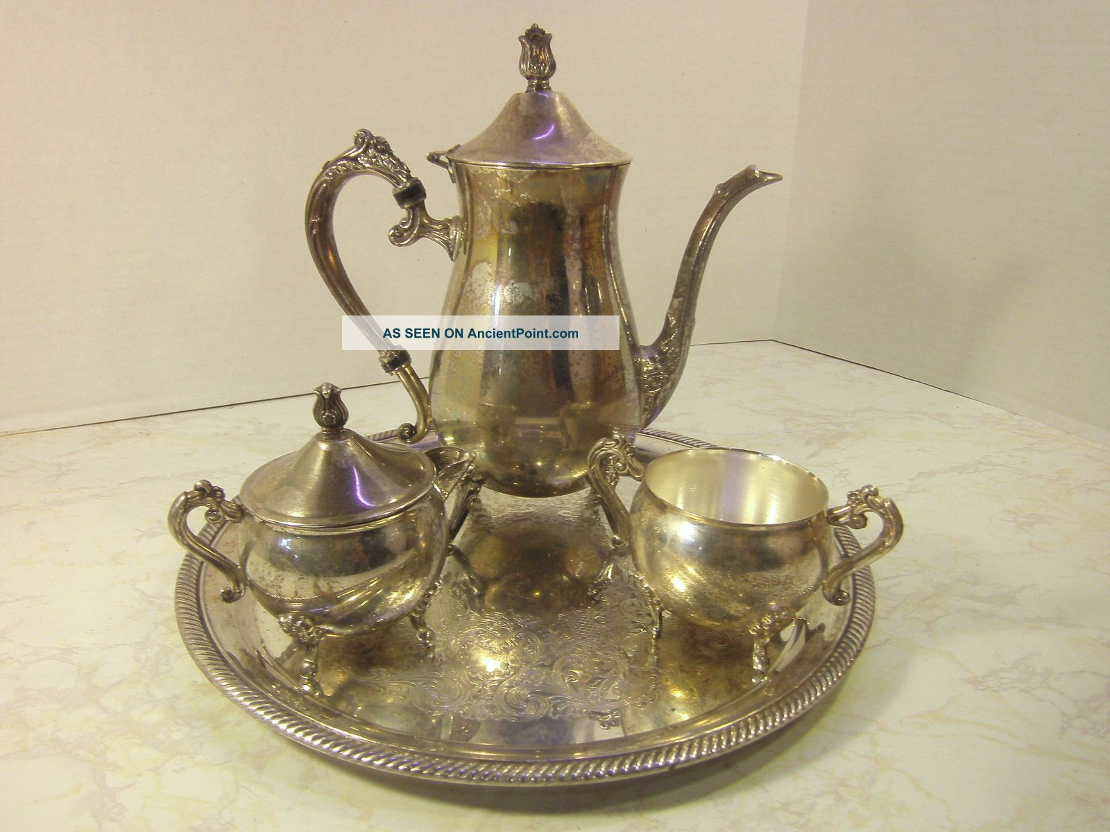 & Leonard Silver Plated Tea Set With Platter