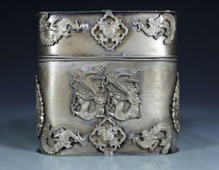 Chinese Old White Copper Handwork Dragon Phoenix Tobacco Box photo