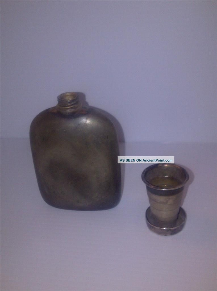 Anitque Army Hip Flask - Telescopic Cup Bottles, Decanters & Flasks photo