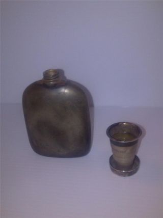 Anitque Army Hip Flask - Telescopic Cup photo