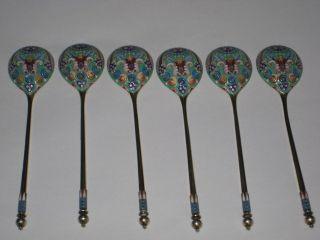 Set Of 6 Russian Silver Gilt 84 Cloisonne Enamel Tea Spoons - Pavel Ovchinnikov photo