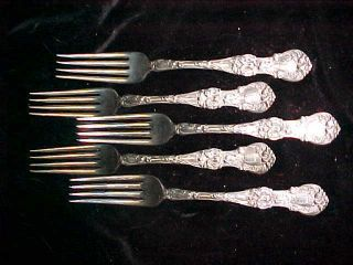 Vintage 1835 Wallace Silverplate Flatware Floral 1902 Luncheon Forks X (5) photo