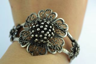 Asian Old Collectibles Handwork Tibet - Silver & White Copper Flower Bracelet photo