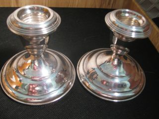 A Pair Of Empire Sterling Silver Candle Holders Mint photo