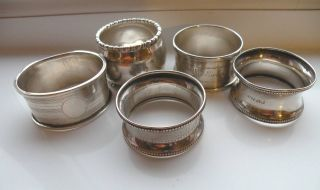Small Lot 5 Solid Silver Napkin Rings 1908 - 1961 Not Scrap photo