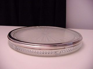 Antique Crystal Glass Trivet With Silver Rim photo