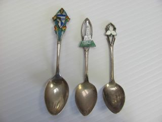Sterling Silver Souvenir Spoons - Three photo
