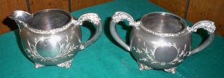 Forbes Silver Co Quadruple Silver Plate Creamer And Sugar Bowl - 136 photo