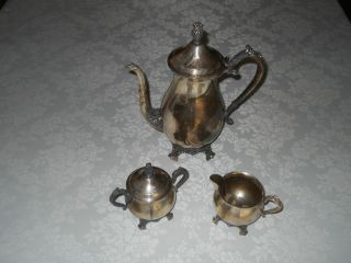 Vintage 1883 Fb Rogers Silverplate Coffe/tea Pot Creamer And Sugar Bowl Set photo