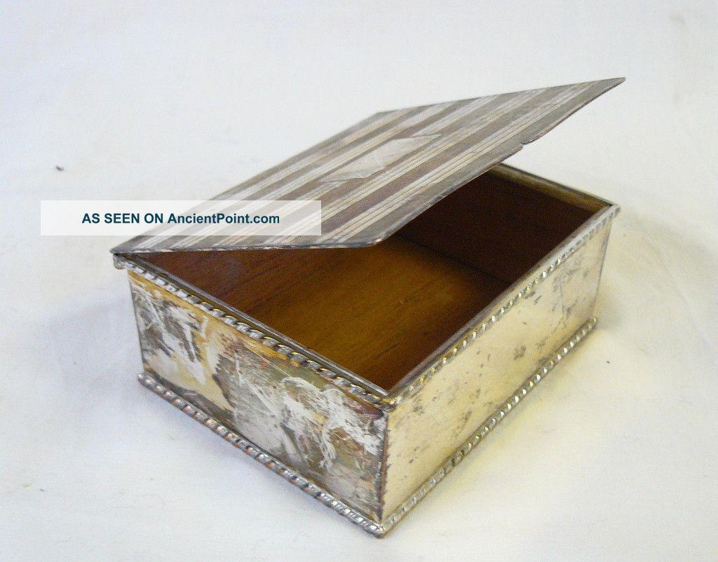 Elegant Silver Plate Cedar - Lined Cigarette Box Boxes photo