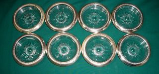 Eight Vintage Leonard Silverplate Trimmed Etched Chrystal Coasters Set photo