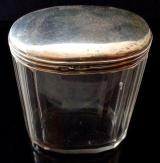 Antique Victorian 1901 Chester Hallmarked Silver Glass Vanity Jar - 3784 photo