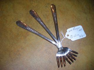 Wm.  Rogers Three Olive Forks,  Pattern Priscilla Circa 1941s. photo