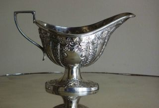 Highly Decorative Vintage Silver Plated Small Sauce Boat.  Possibly Victorian. photo