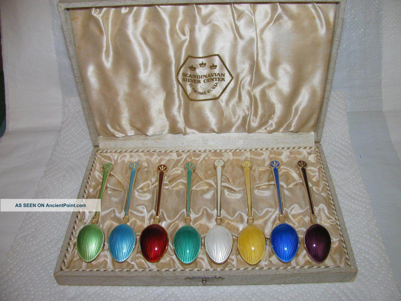 Andersen Norway Sterling Silver Enamel Spoon Box Other photo