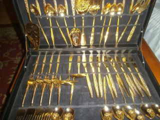 48 Piece Jh Golden Bouquet Flatware. .  In Case.  Set. photo