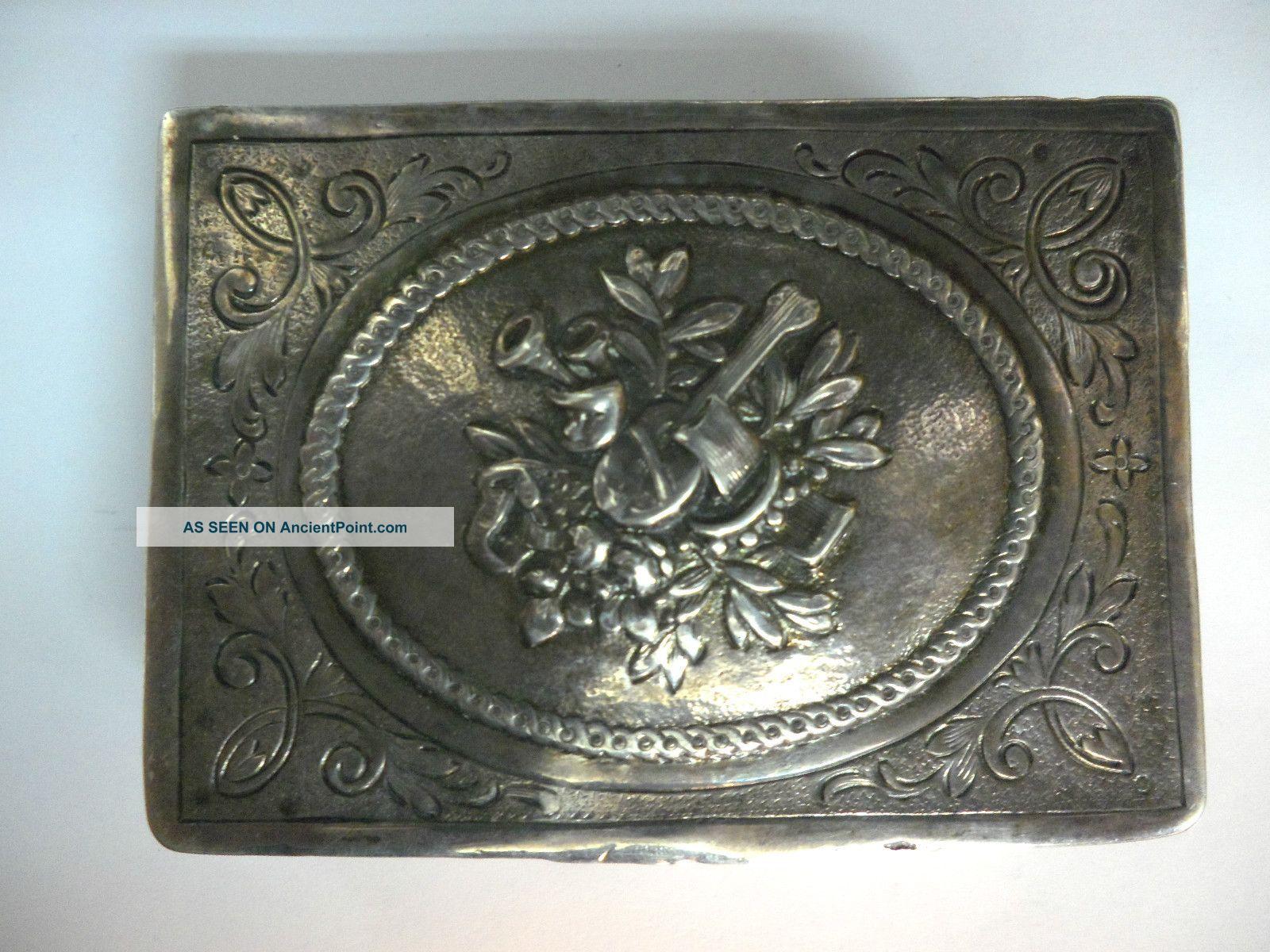 Antique Silver Snuff Box Tobacco Case Germany Hanau Sweden Heavy 128 Grams Silver Alloys (.800-.899) photo