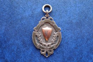 1927 Hallmarked Silver & Gold Fob / Medal (engraved) photo