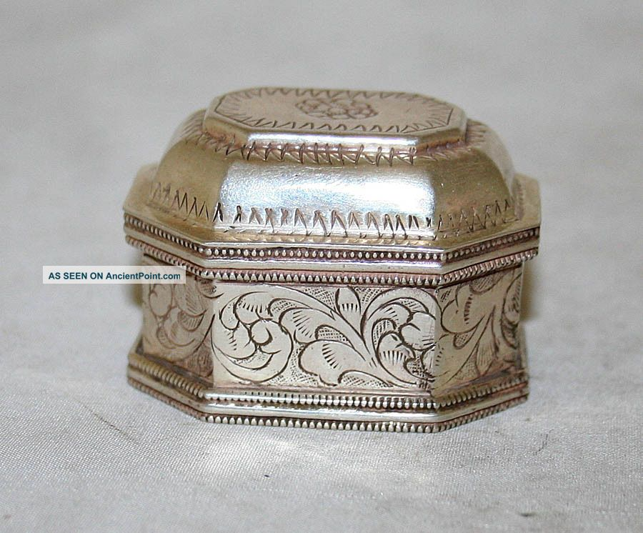 German Antique Pill Box Silver 800 Engraved Germany 19th Century Germany photo