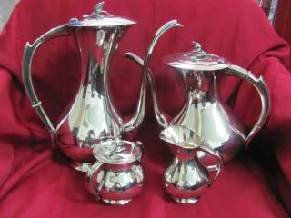 German Sterling Silver Art Deco Tea Set Very Unique And photo