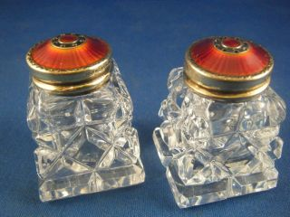 Hroar Prydz Guilloche Enamel Sterling Silver And Crystal Salt And Pepper Shakers photo