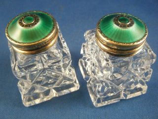 Hroar Prydz Guilloche Enamel Sterling Silver / Crystal Salt And Pepper Shakers photo