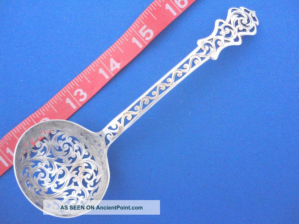 1860 Antique Sterling Silver Sugar Sifter Ladle England Hilliard & Thomason United Kingdom photo